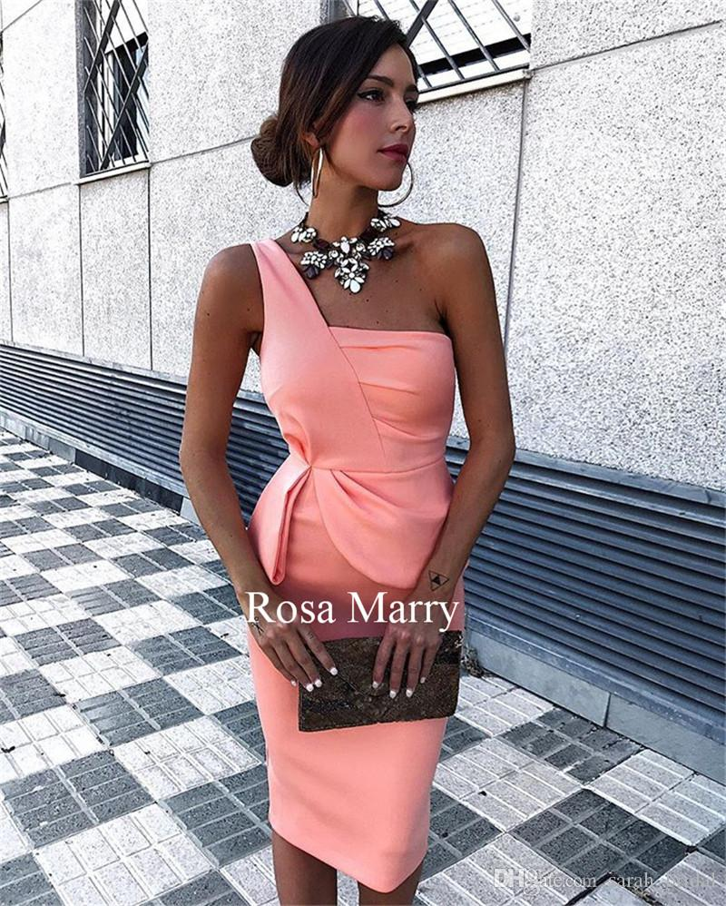 Sexy One Shoulder Cheap Short Cocktail Party Dresses 2018 Sheath ...