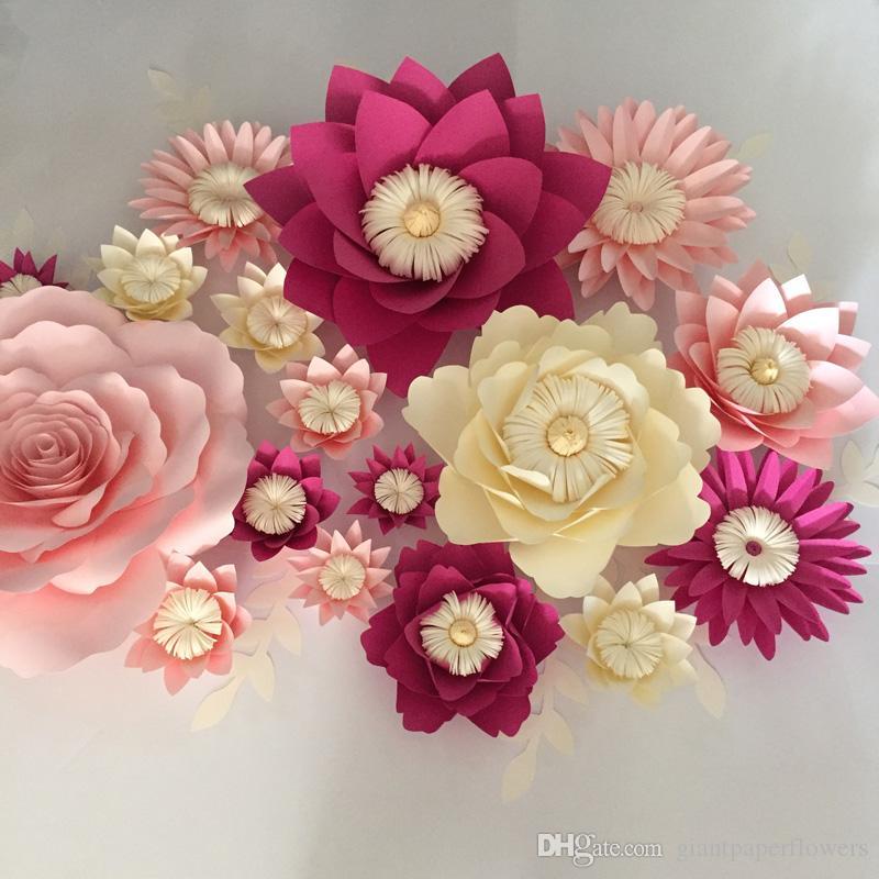 Compre Flores De Papel Gigantes Folhas De Parede De