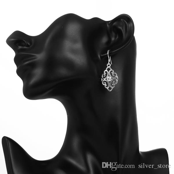 최고의 선물 새로운 도착 중공 패션 925 귀걸이 STPE006, 최고의 선물 전체 보석 여성 스털링 실버 매달아 샹들리에 귀걸이