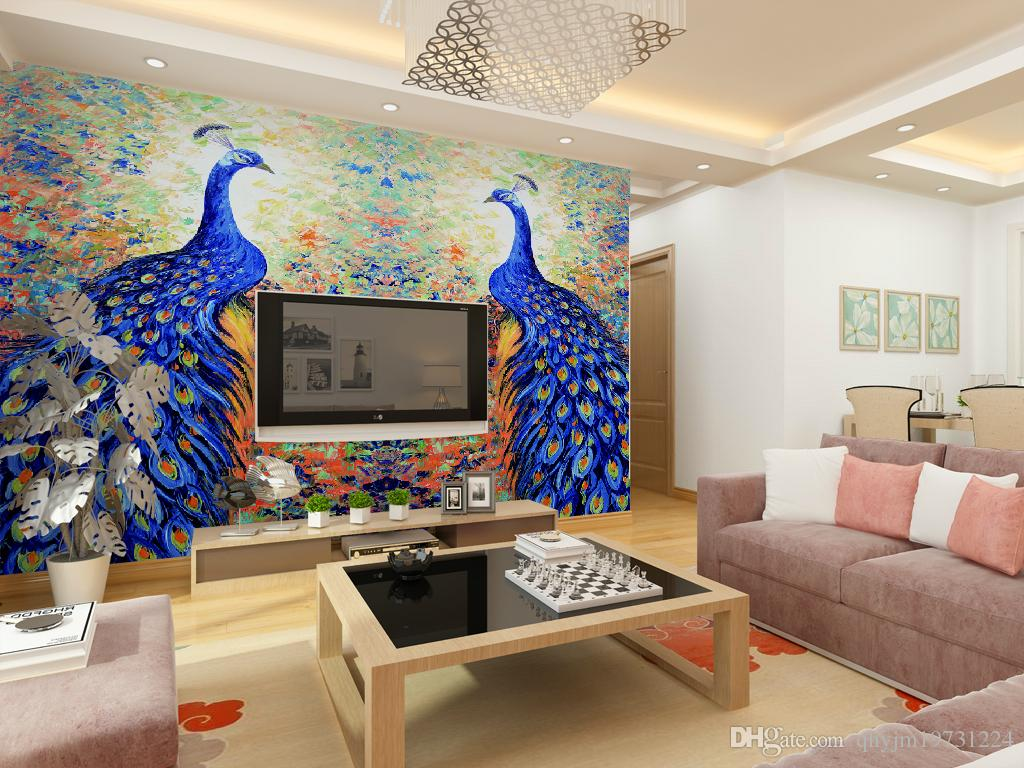 Promotional Wallpaper Mural Blue Peacock Oil Painting The Living Room Tv Background Wall Custom