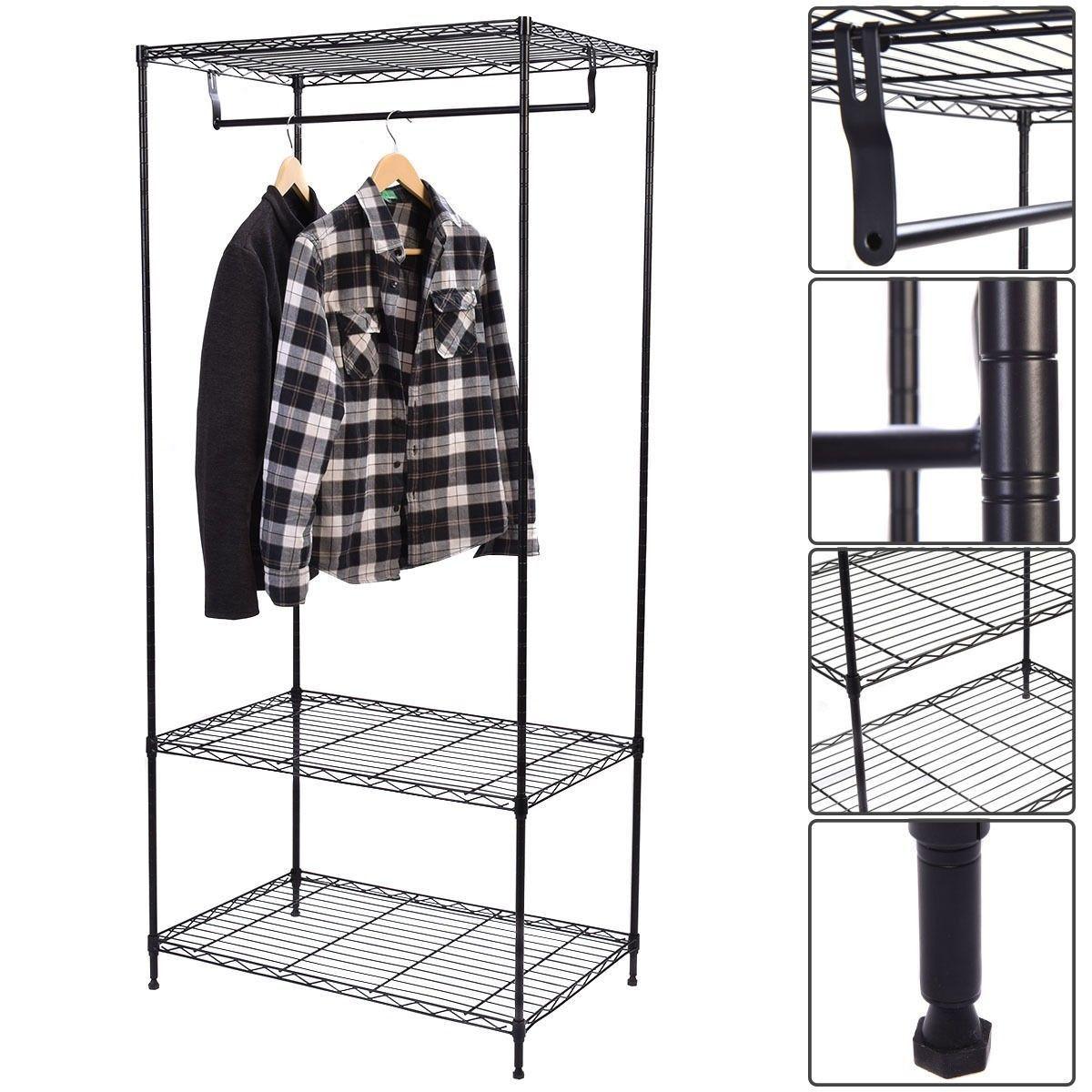 2018 Clothing Garment Rack Shelving Wire Shelf Dress Portable ...
