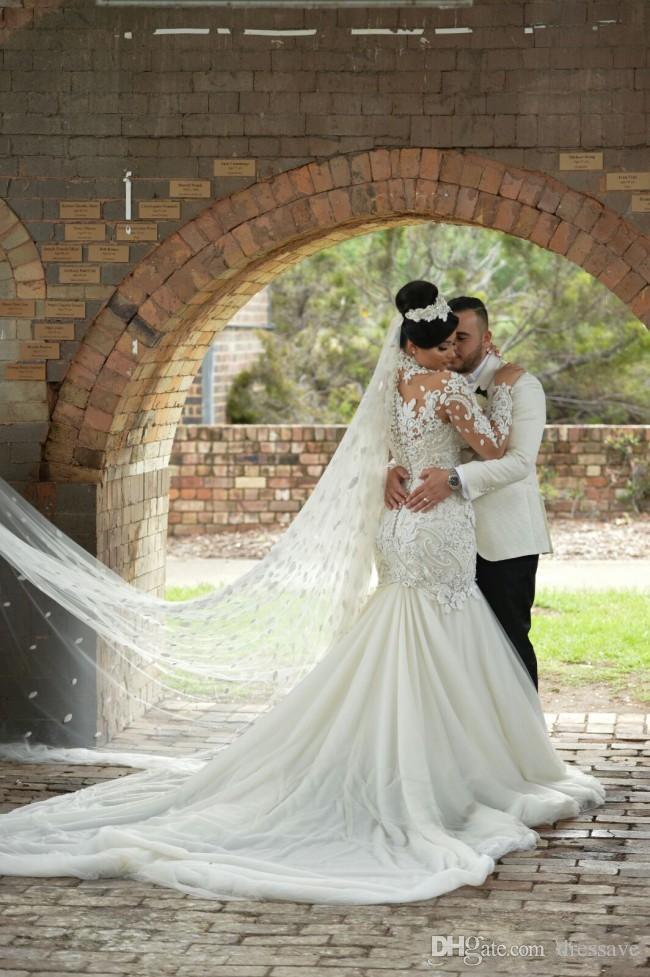 2018 Luxury Crystal Beaded Applique Wedding Dresses Mermaid High Neck Long Sleeves Wedding Gowns Court Train Bridal Dress
