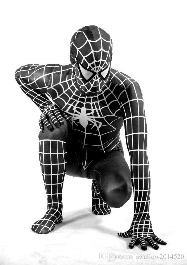 Nuovo bianco lycra nera 3D Printing Vemon Symbiote Spider-Man Costume Spiderman partito di Halloween Dress Cosplay Suit Zentai