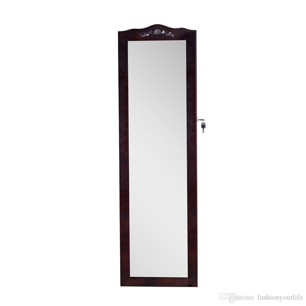 2018 Brown Mirror Jewelry Armoire Cabinet Wall Mount Or Hang Over The Door  With Inner Mirror Usa Stock From Fashionyourlife, $115.58 | Dhgate.Com