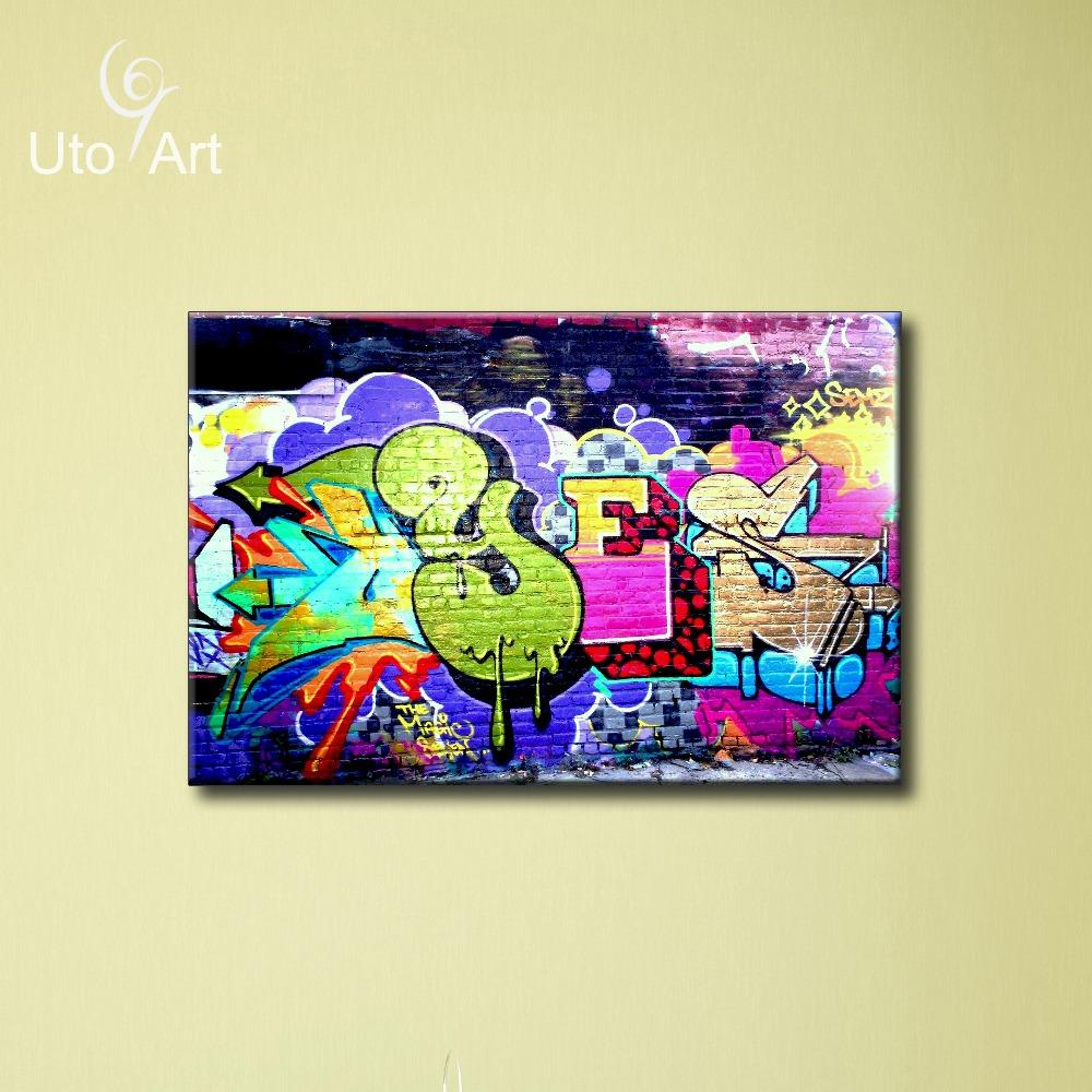 2018 Fashion Graffiti Oil Painting Canvas Prints For Young Room ...