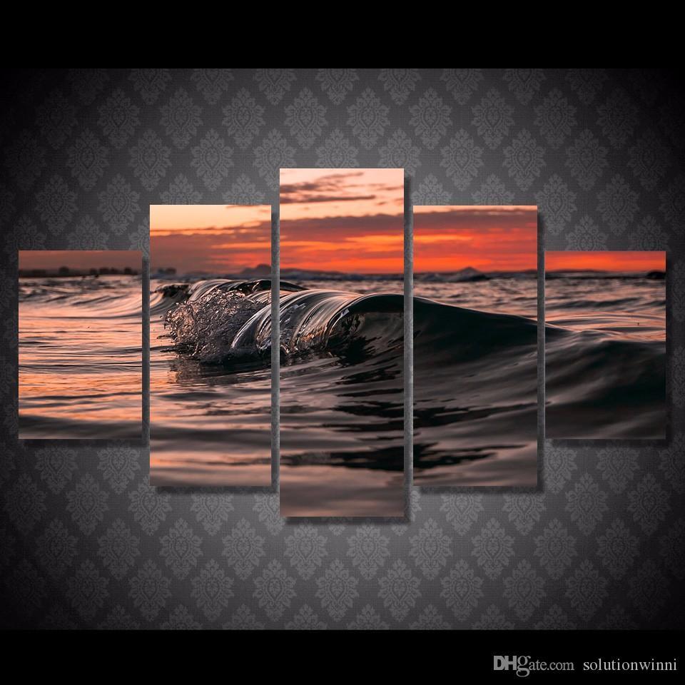 5 Pçs / set HD Impresso ondas de água luz Pintura Cópia Da Lona decoração da sala de impressão imagem do cartaz da lona de lona real pinturas