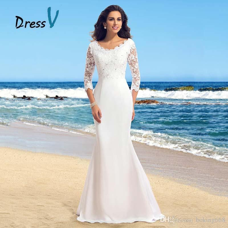 Discount Summer Beach Boho Wedding Dresses 2017 Round Neck