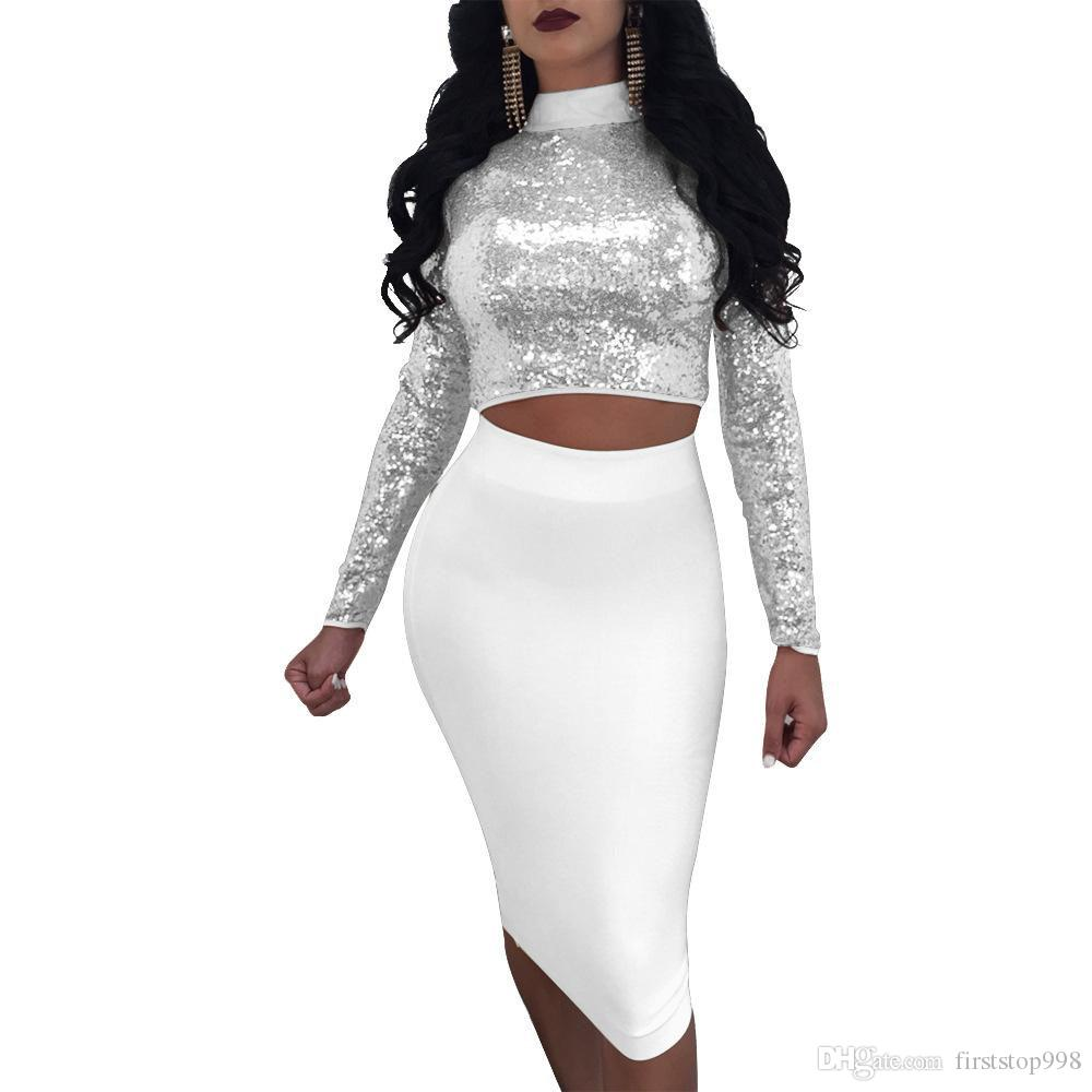 Lace up sequins bandage dress suit 2018 summer Long Sleeve set women Sequin crop top and skirt Ladies sexy Nightclub wear set