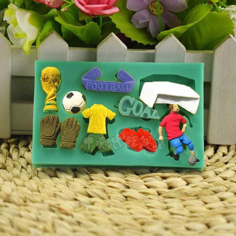 calcio Coppa del mondo di calcio torta del fondente del sapone del silicone della muffa del cioccolato che decora gli attrezzi di cottura del mestiere dello zucchero