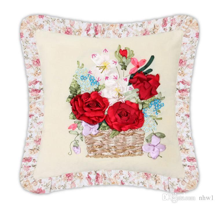 Floral Pillow Case Designs: 2018 Ribbon Stitch Diy Pillow Case Floral Red Flowers Design 3d    ,