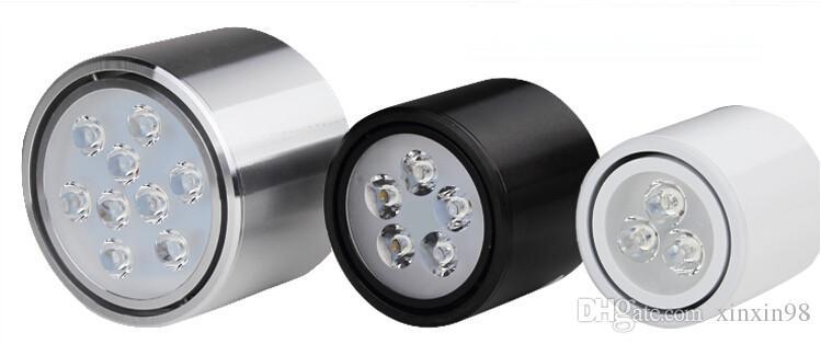 Venta al por mayor regulable 3W / 5W / 7W / 12W ronda COB LED Downlight superficie montada cocina luz del punto lámpara de ajuste fácil ajustar la cabeza de luz AC85-265V