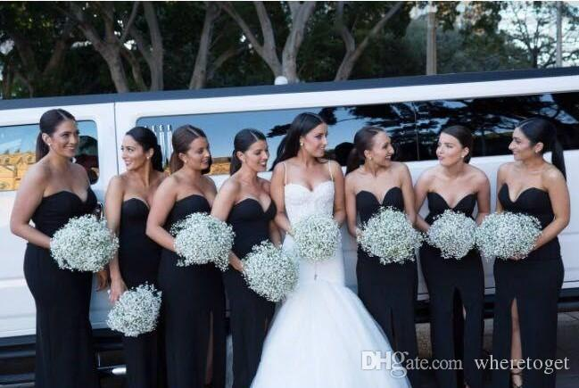 Black Long Bridesmaid Dresses 2019 Mermaid Sweetheart Backless Simple Cheap Sexy High Slit Long Formal Dresses Maid Of Honors Cheap