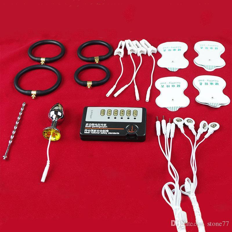 Elektroschock Anal Plug Harnröhren Plug Penisring Penisvergrößerung Klitoris Nippel Clamp DIY Sex Spielzeug Schönheit Massagegerät