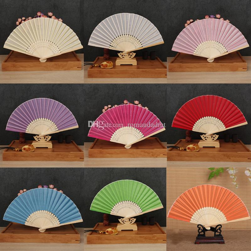 Wedding Favors Gifts Elegant Solid Candy Color Silk Bamboo Fan Cloth