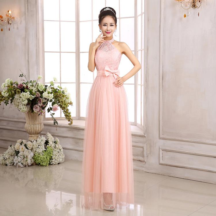 A Line Ankle Length Stain/Tulle/Lace Halter Bridesmaid Dresses Under ...