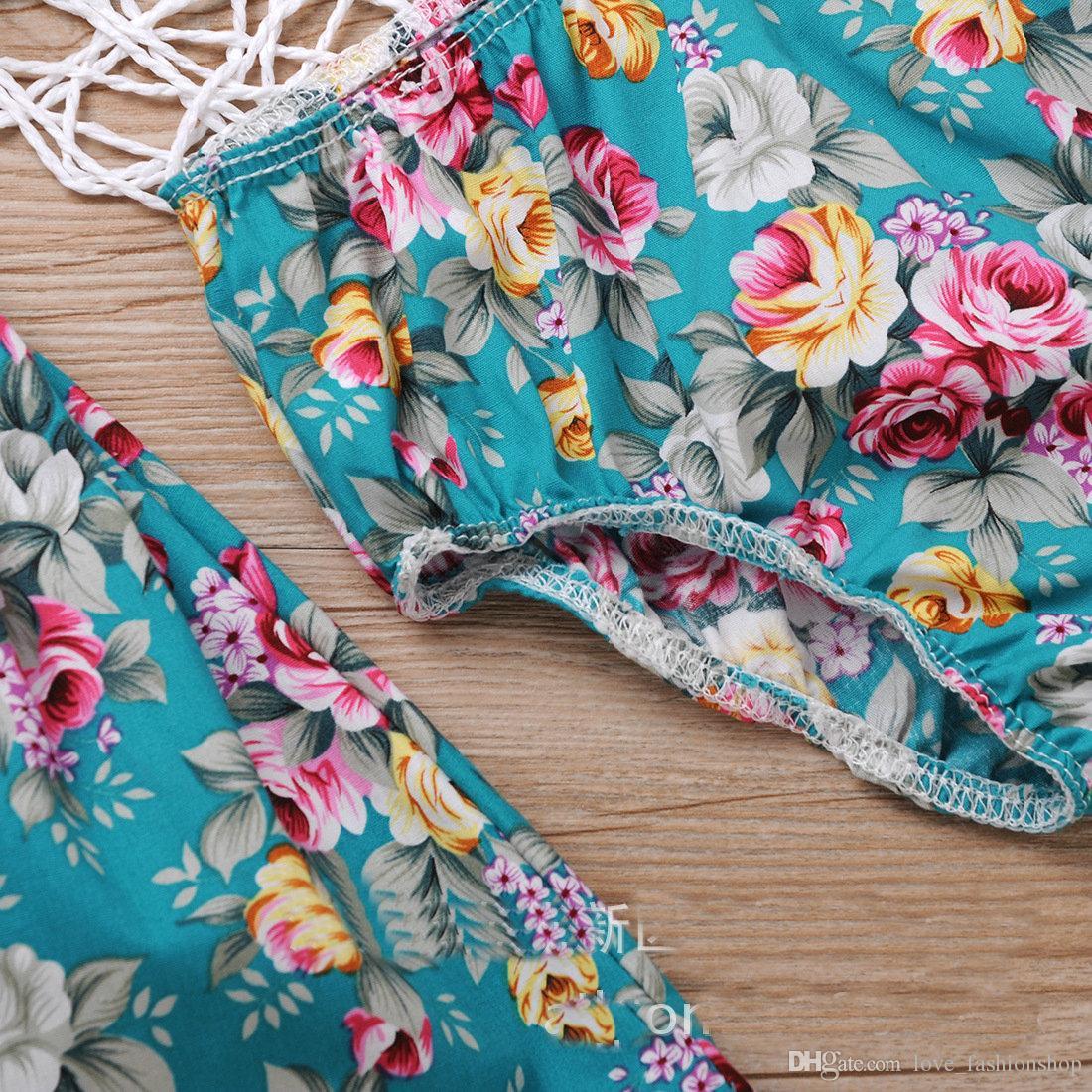 Varejo Do Bebê Meninas Vestidos Florais Duas Peças Set Vestido De Algodão + roupas íntimas Meninas vestido de praia Roupa Dos Miúdos Crianças Roupas