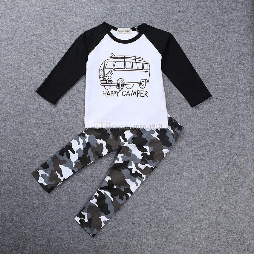 6a9e250552268 Acheter INS Garçons Vêtements Décontractés Bébé Voiture De Bande Dessinée  Tops Lettres T Shirt + Pantalon Camouflage Géométrique   Set Coton Costume  ...