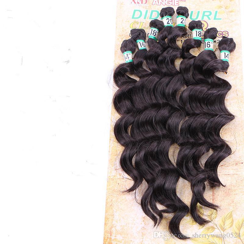 Extensión del pelo de la fibra sintética profunda floja de la onda profunda 14-20