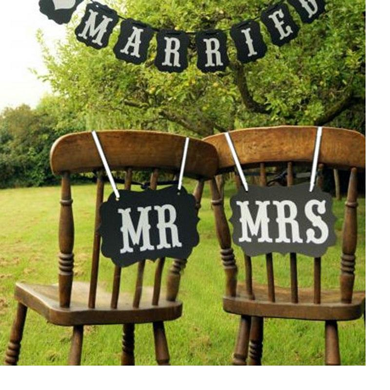 DIY Mr. Mrs. Paper Board + Ribbon Sign Photo Booth Props Wedding decoration Party Favor WA1300