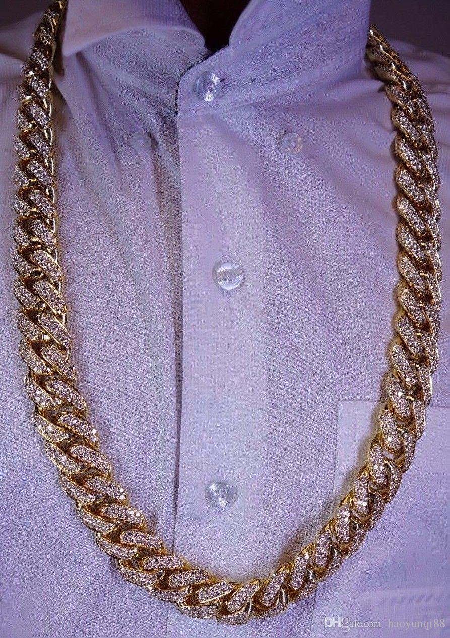 100 Carats Diamond 1 Kilo Solid Yellow Gold Miami Cuban Link Chain 22 MM  ASAAR UK 2019 From Haoyunqi88 fafbbe7ba061