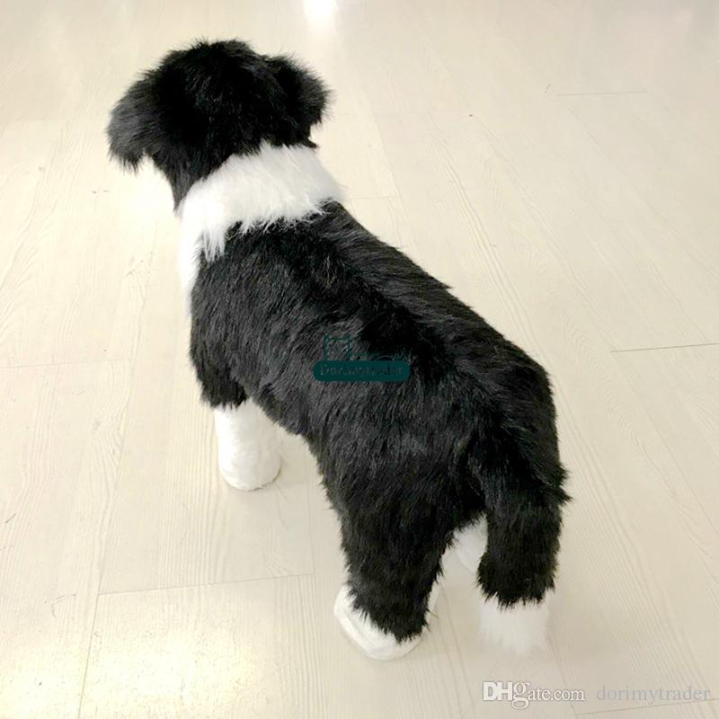 Dorimytrader mignon chigne simulé chien peluche peluche peluche poupée de chiens réaliste peut rouler sur la décoration cadeau des enfants du dos dy61804