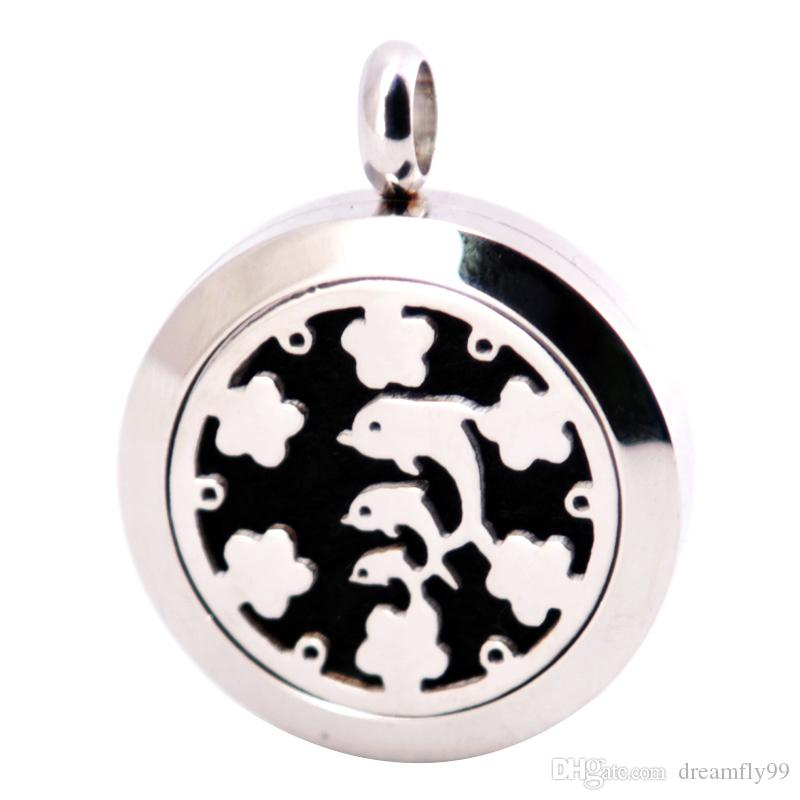 Dolphin 25mm Diffuser 316 Stainless Steel Necklace Pendant Aroma Locket Essential Oil Diffuser Lockets Free Felt Pads As Gift