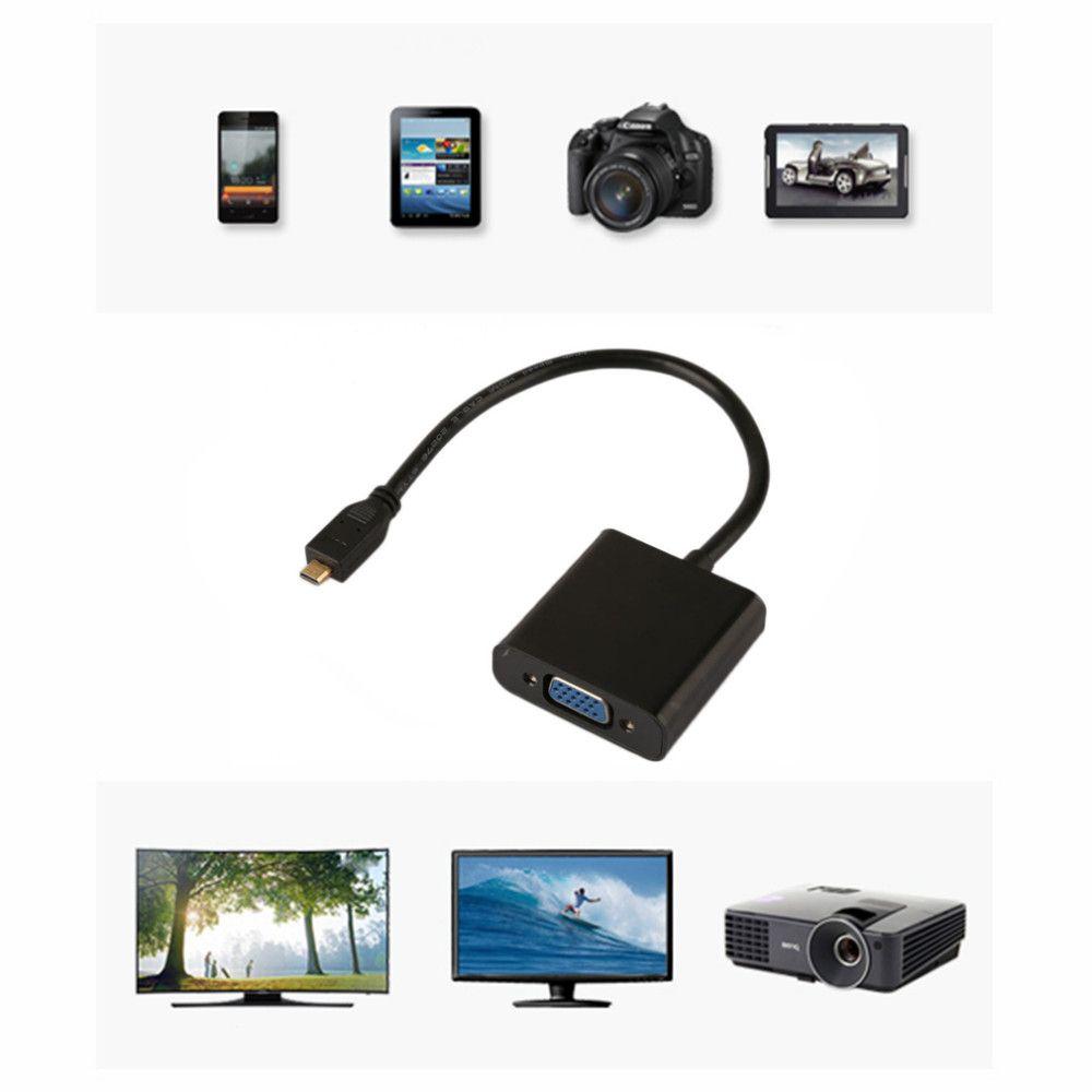1080P Micro HDMI macho a VGA Adaptador convertidor de cable de video femenino para PC Portátil Negro al por mayor