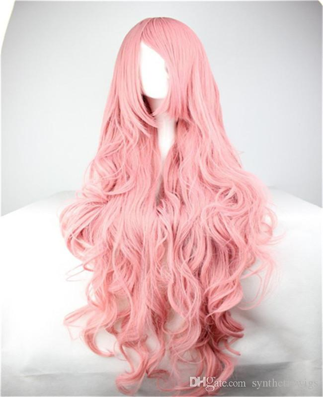 женщины парики волос harajuku ombre пастельные длинные розовые волнистые вьющиеся парик косой челки 100 см парик косплей жаропрочных синтетические парики