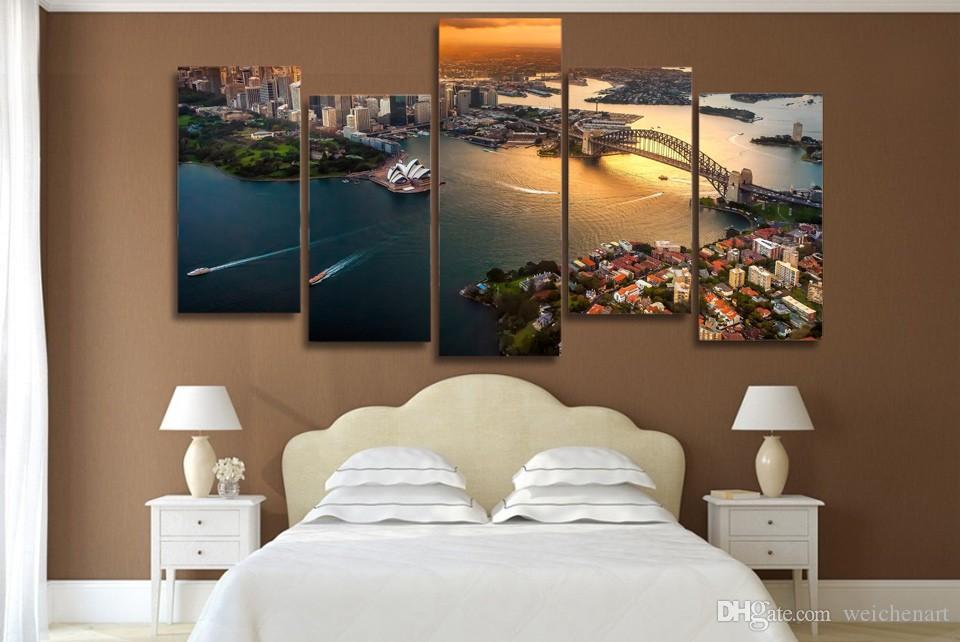 5 Paneli HD Baskılı Sidney Avustralya Cityscape poster resim Tuval Boyama Baskı Tuval Odası Dekorasyon On Boyama