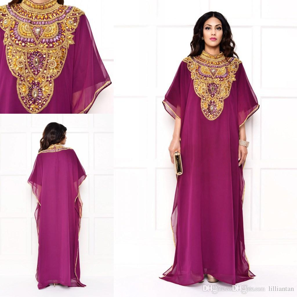Arabian Dubai Kaftan Arabic Evening Dresses Beaded Crystal Collar Muslim Islamic Celebrity Dress Formal Party Gowns Abaya Caftan Chiffon