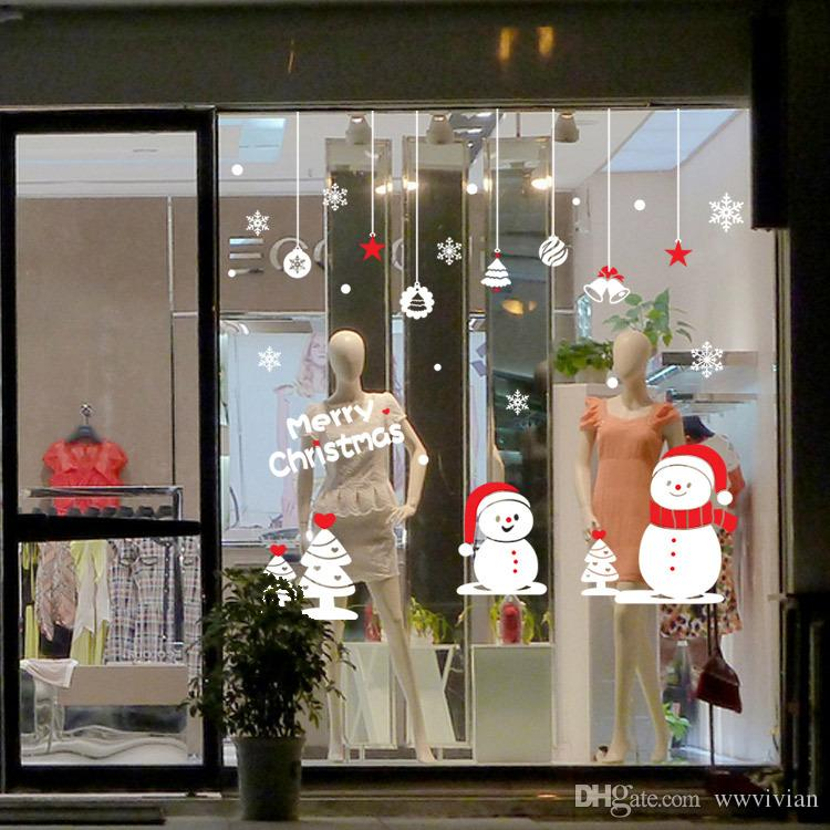 Shop Decorations For Christmas: Christmas Ball Bell Tree Pendant Wall Stickers Store