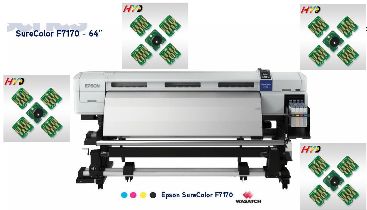 DHL / FEDEX libre: viruta de la impresora del tinte sub F7170, 20 pedazos / porción, reemplazo compatible de T7411 T7412 T7413 T7414 viruta del cartucho de tinta