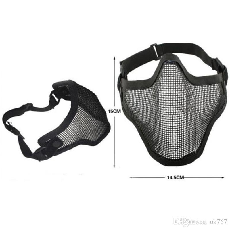 Butik Taktik Av Zihinsel Tel Yarım Maske Açık Bisiklet Sürme Açık Alan CS Mesh Airsoft Maskesi Paintball Dayanıklı