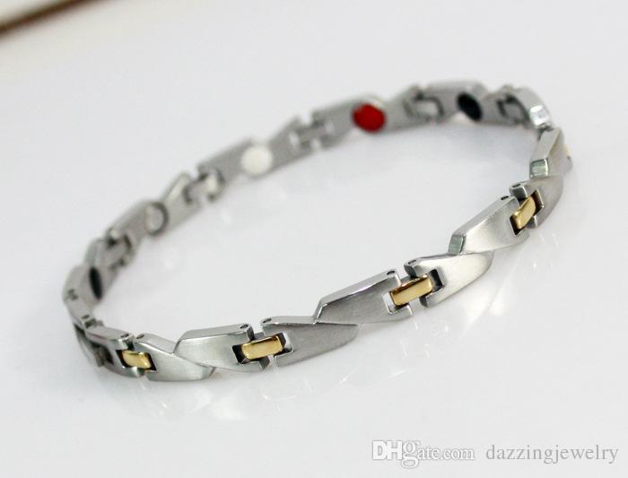 Nuovi braccialetti magnetici energetici di alta qualità in argento con ossi di germanio 4 in 1 bracciali bio sani