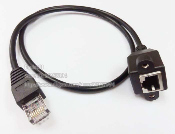 60cm RJ45 8P8C FTP STP UTP CAT 5E männlich zu weiblicher LAN-Ethernet-Netzwerk-Verlängerungskabel mit Panel-Halterung Löcher / Freies Verschiffen / 2 stücke