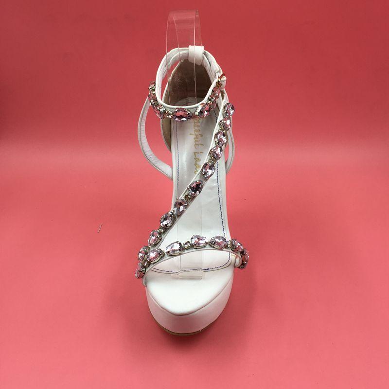 Real White Wedding Scarpe da sposa Crystal Beads Tacchi alti Moda Donna Scarpe da sera Stile estivo Sandali donna Custom Made Plus US15