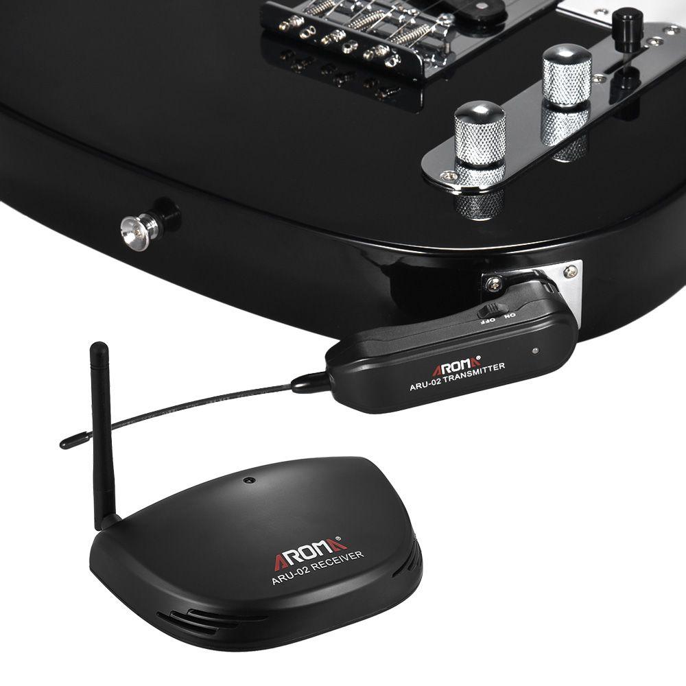 Aroma ARU-02 UHF Transmisor inalámbrico de guitarra Sistema de receptor de transmisor de audio digital Cable USB para guitarra Bass Ukulele