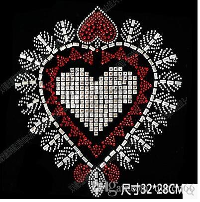 Best sale DIY 32*28cm HEART bling crystal patterns clothing accessories Hot Fix Rhinestones motif Heat Transfer on Design Iron On clothes