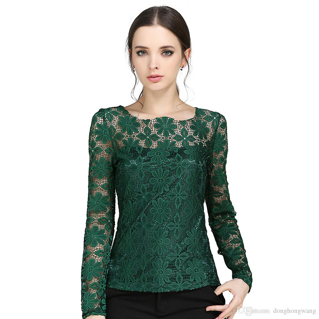 fb5441389f3 2019 S XXXXXL Plus Size Long Sleeved Women Casual Lace Shirt Spring 2016  Korean New Fashion Slim Women Lace Tops Sexy Sheer Blouses From  Donghongwang