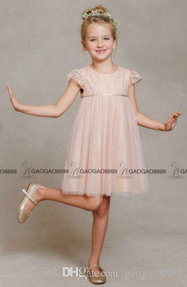 Jenny Yoo Kleinkind Mädchen Große Mädchen Erröten Spitze Tüll April Blumenmädchen Kleid Niedlich Flügelärmeln Knielangen Günstige Blumenmädchenkleider