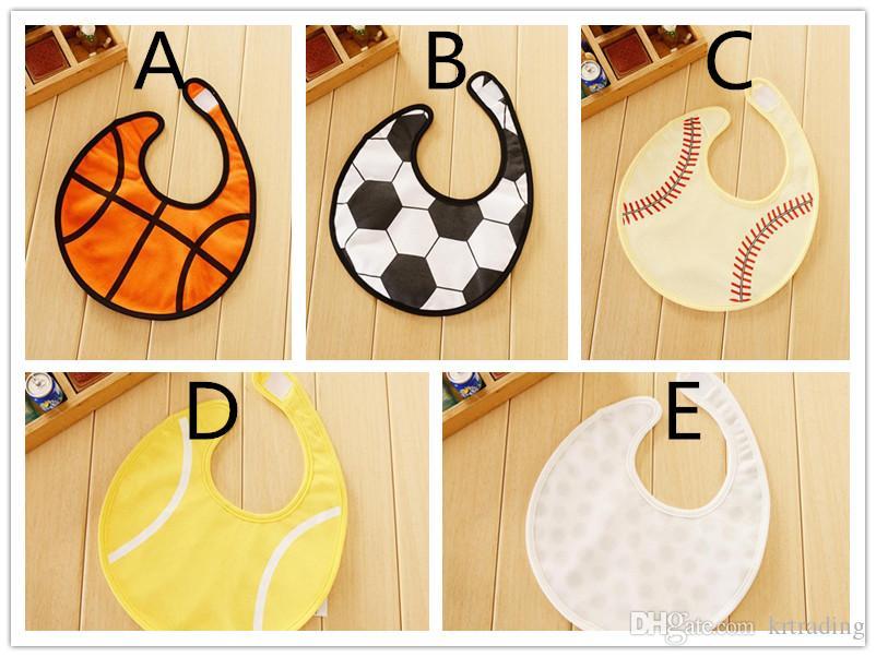 Bebek topu oyunları karikatür baskı su geçirmez önlükler basketbol futbol beyzbol golf tenis baskılı erkek kız bebekler pinny