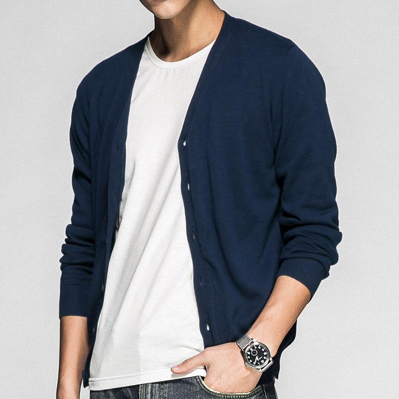 2018 Sweater Men V Neck Cotton Casual Knitted Mens Cardigan ...