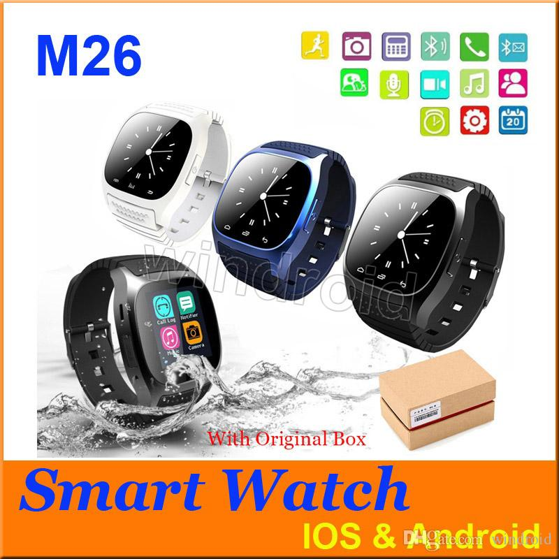 2016 Bluetooth Smart Watches M26 for iPhone 6 6S Samsung S5 S4 Note 3 HTC Android Phone Smartwatch for Men Women Factory Price colors 5pcs
