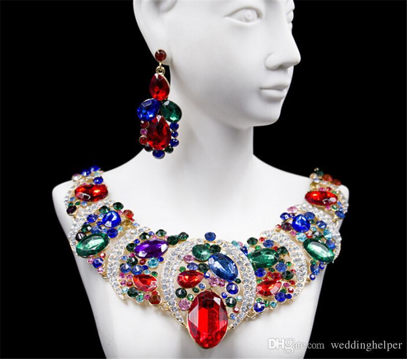 Wholesale Artificial Necklace Earrings Set Wedding Jewelry Crystal Rhinestone Copper Necklace Pendant Blue Diamond Elegant Jewelry Supplier