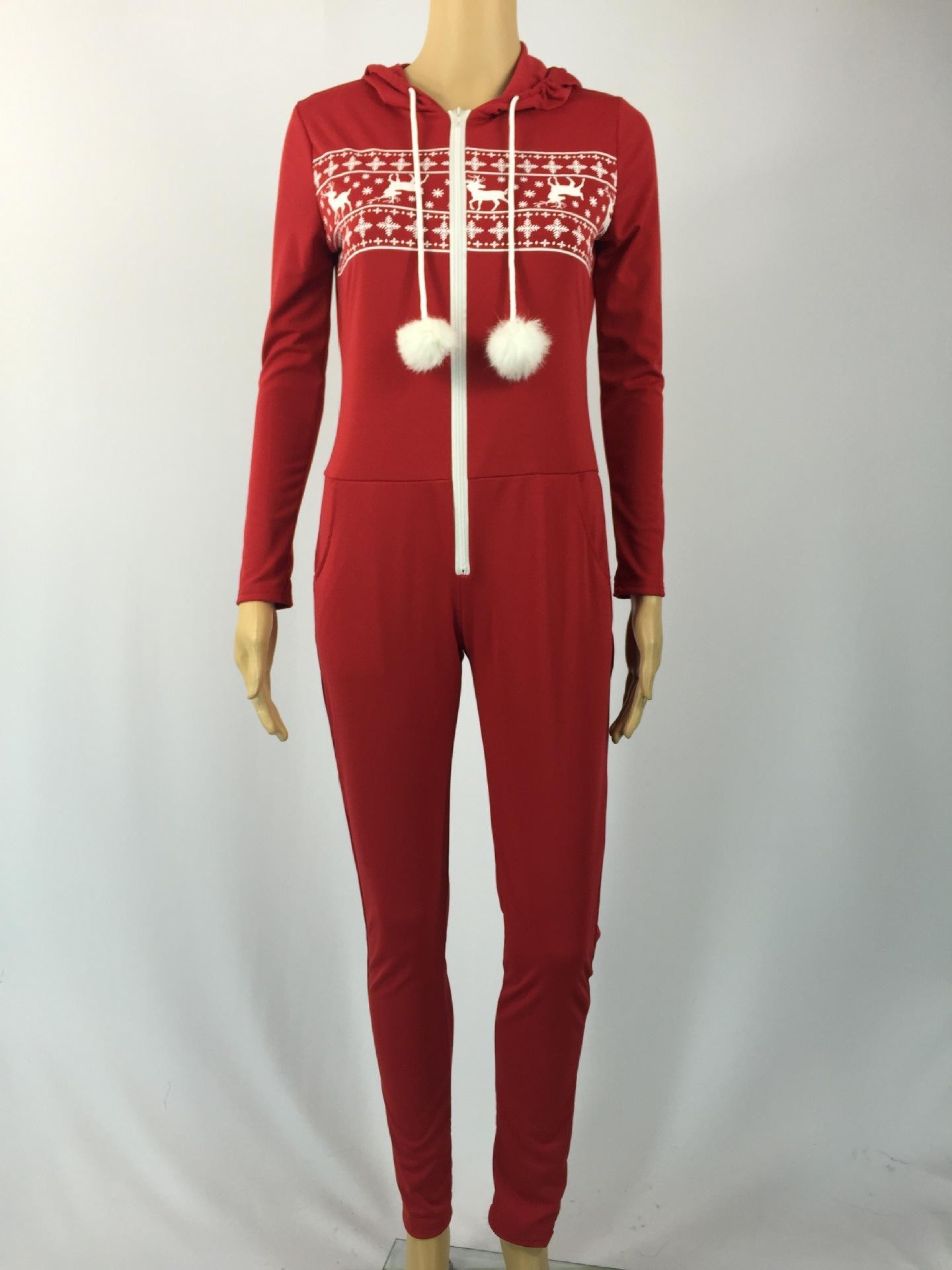 Christmas Jumpsuit Womens.Wholesale Europe And America Brand Fashion Women S Clothing Red Christmas Tight Leg Movement Leisure Jumpsuits