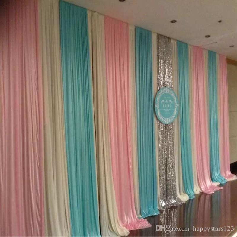 3m 6m Fashion Colorfui Ice Silk Wiht Sequins Swag Wedding Backdrop