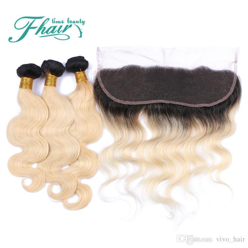 # 1B / Blonde Lace Frontal Encerramento Com Bundles Peruano Ombre Cabelo Com Frontal Peruivan 613 Onda Do Corpo Com Fecho 13 * 4 Lace Frontal