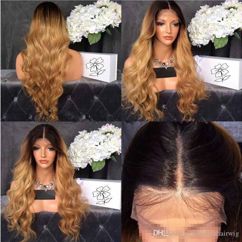 Cheap dark roots blonde body wave synthetic lace front wig high quality black/blonde ombre heat resistant fiber hair women wigs