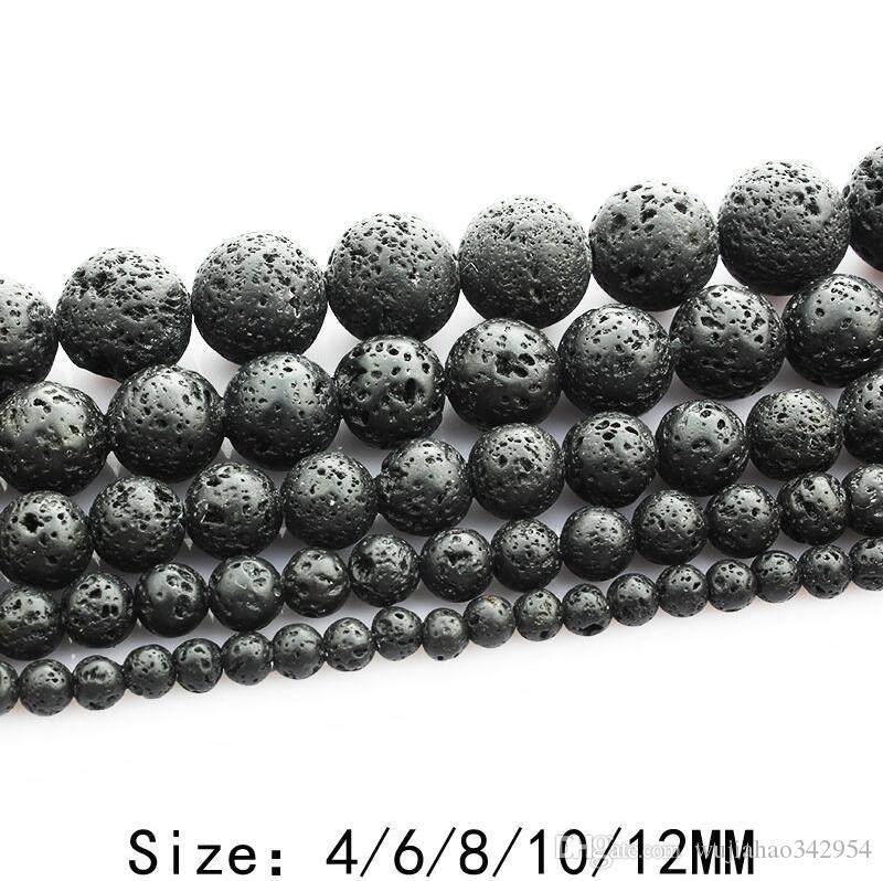 Volcanic Rock Natural Stone Round Beads Black Volcanic Lava Charms Bracelet DIY Beads for Jewelry Making 4-12MM