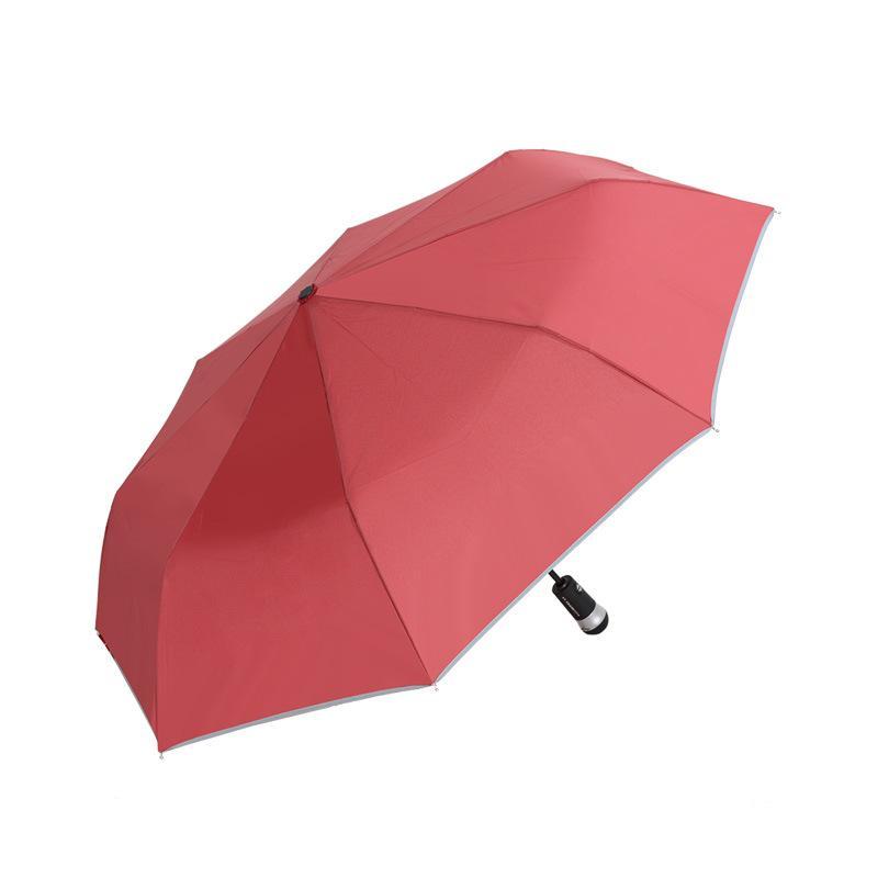 New hot Três dobras guarda-chuva dobrável automático de três dobras guarda-chuva de personalidade criativa LED guarda-chuva de ofício luminosa